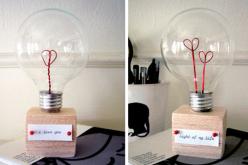 Сувенир на 14 февраля «Лампа любви» своими руками