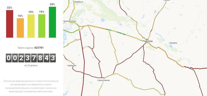 Информацию о 900 дорогах Днепропетровщины уже можно увидеть онлайн